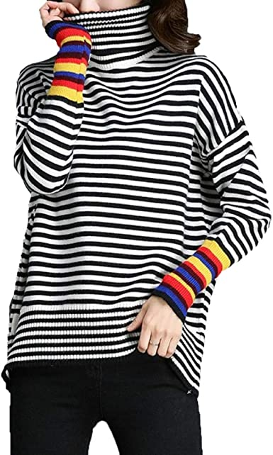 NIAIS Camiseta De Manga Larga A Rayas con Cuello Alto para Mujer Suéter con Jersey De Punto Prendas De Punto: Amazon.es: Ropa y accesorios