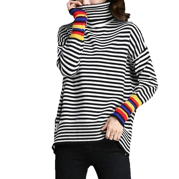 47b6887b9732 NIAIS Camiseta De Manga Larga A Rayas con Cuello Alto para Mujer ...