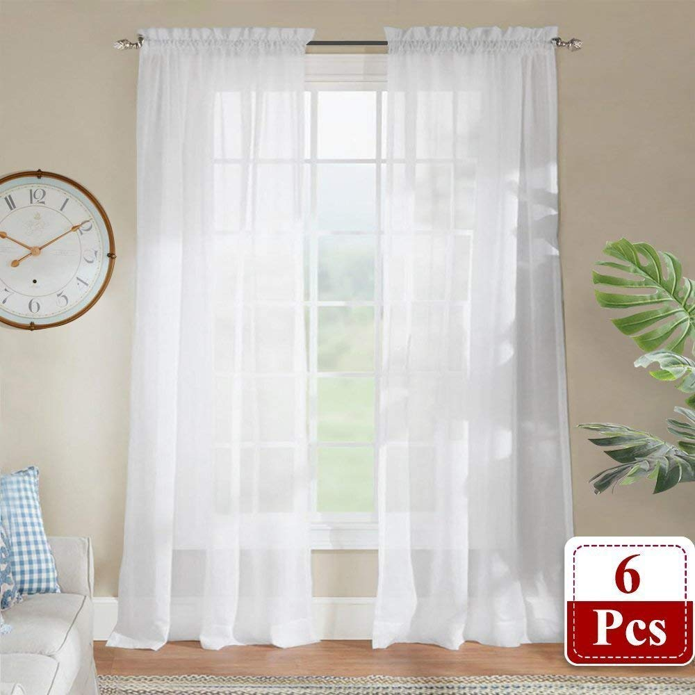 RYB HOME Sheer Curtain Drapes - Small Window Rod Pocket Elegant Light Filter Voile Panels Curtains Set for Babies, Width 60 by Length 45 Inch, Solid White, 4 Pieces USRYBRPVOILE-60