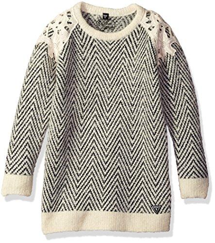 GUESS Little Girls' Crochet Overlay Sweater Dress, White/...