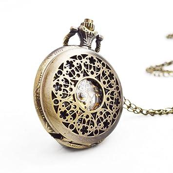 SW Watches Reloj De Cadena De Suéter De Reloj De Bolsillo Mecánico Esquelético Hueco Esculpido Tallado: Amazon.es: Hogar