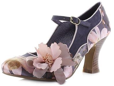 d8fe9fb602afb0 Ruby Shoo Ladies Madelaine Slate Pink Floral Print Vegan Friendly Shoes -UK  4 (EU