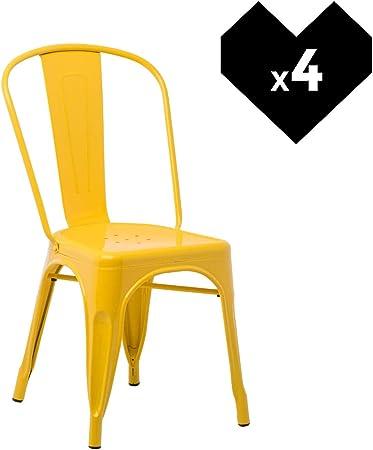 SKLUM Pack 2 Sedie LIX Sala da Pranzo Cucina Bar Stile Industrial Finitura lucida