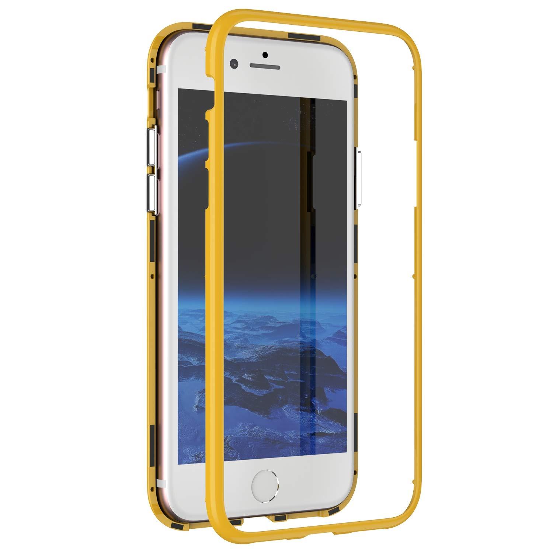 Kompatibel mit iPhone 7//8 H/ülle Transparent Tempered Glass Backcover Handyh/ülle mit Eingebauter Magnet Flip Funktion 360 Grad Schutz Metall Frame Adsorption Sto/ßfest Bumper Case Tasche,Rot