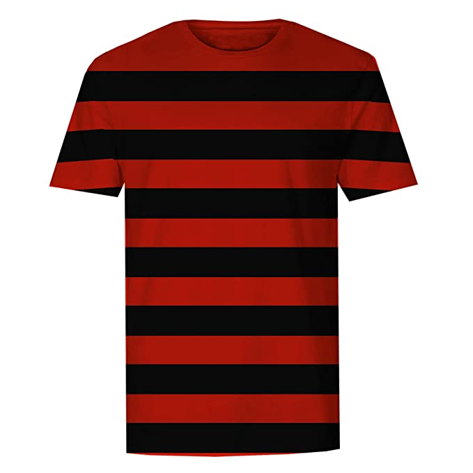 The T-Shirt Factory Mens Red and Black Striped T-Shirt (S)