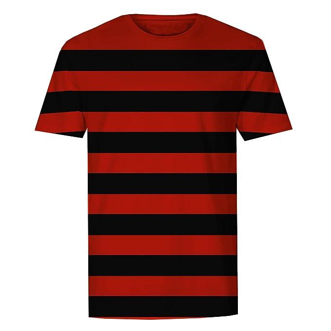 The T-Shirt Factory - Camiseta a Rayas Negras y Rojas para Hombre: Amazon.es: Ropa y accesorios