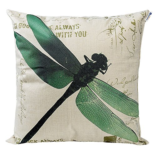 Dragonfly Green (Happytimelol 18 x 18 Cotton Linen Throw Pillow Case Cover (Green Dragonfly))