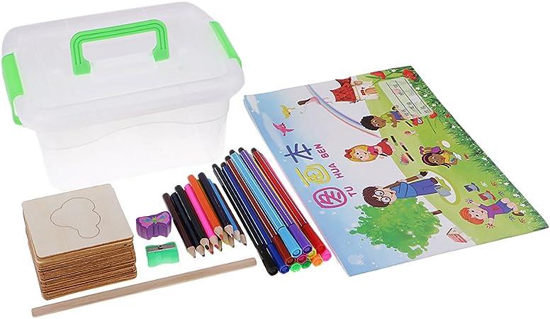 B Blesiya Set de 24pcs Plantillas de Dibujo de Niños Sacapuntas de Lápiz Caja Contenedora Jardín Accesorio: Amazon.es: Hogar