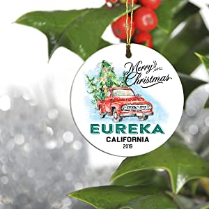 "Christmas Tree Ornament 2019 - Merry Christmas Eureka California CA State - Keepsake Gift Ideas Ornament 3"" Christmas 2019 for Family, Friend and Housewarming"