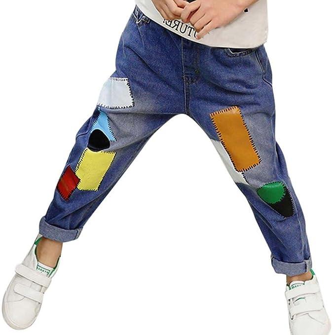 Bebé estampado rotos Denim Suelto elasticos Pantalones ropa ...