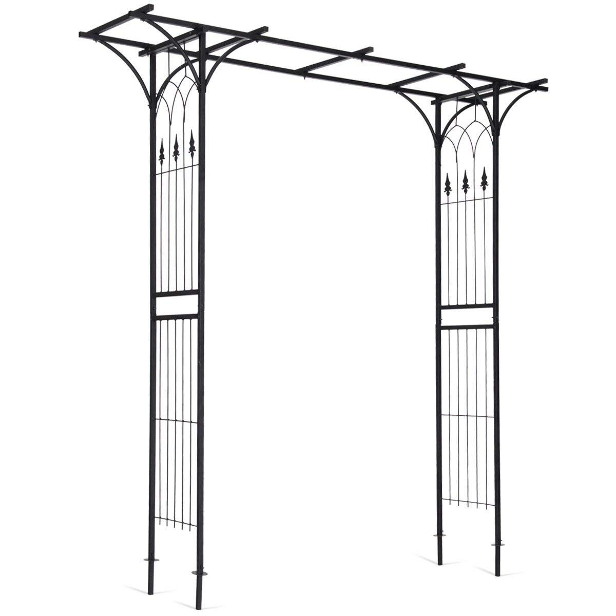 Giantex Garden Arch Arbor High Wide Metal Steel Frame Stand Trellis for Rose Vines Plant Climbing Patio Lawn Backyard Party Wedding Ceremony Decoration Outdoor Gardening Walkway Arches,Black