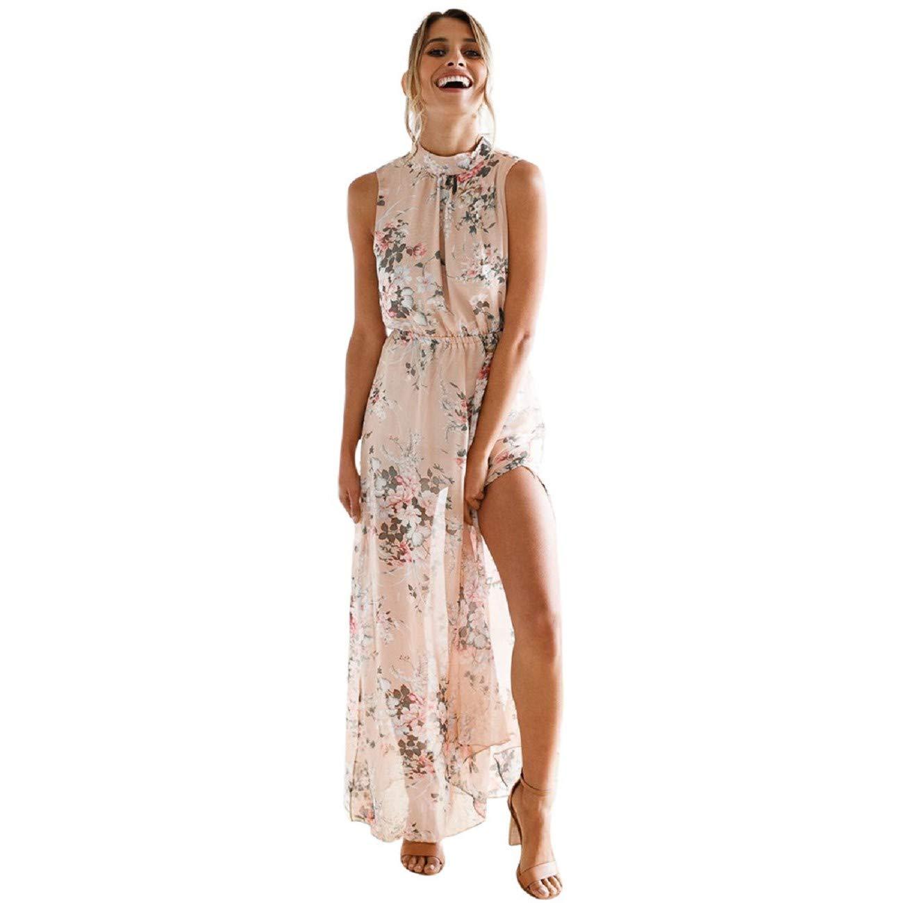 Women Maxi Dress FAPIZI Chiffon Floral Print Sleeveless Backless Casual Boho Turtleneck Beach Long Dress Pink by FAPIZI Women Dresses