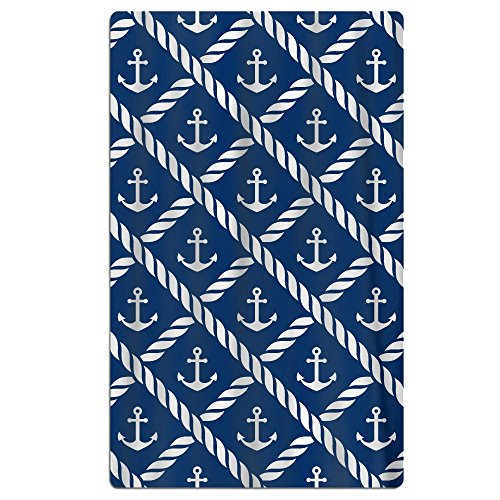 FSKDOM Nautical Anchor Chevron Net Navy Double Jacquard Prem