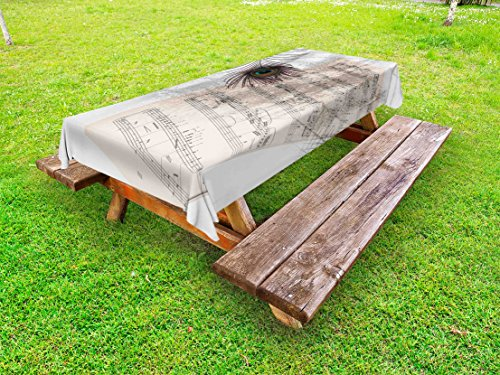 Lunarable Peacock Outdoor Tablecloth, Music Notes Sheet Texture with Peacock Feather Evil Eye on Antique Style Musical Theme, Decorative Washable Picnic Table Cloth, 58 X 120 inches, Beige by Lunarable