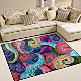 ALAZA Abstract Octopus Kraken Area Rug Rugs for Living Room Bedroom 5'3 x 4′