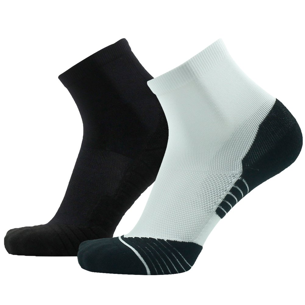 Tennis Socks Low HUSO Ankle High Performance Fashion Cool Athletic Running Socks for Men 2 Pairs (White&Black, L/XL)