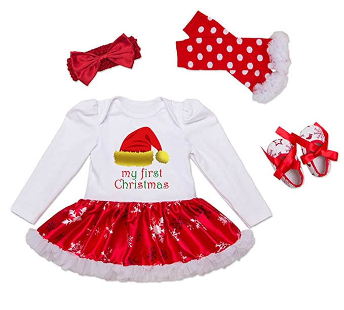 79a0ea7b3 Bigface Up Baby Girls My First Christmas Costume Party Dress Tutu Outfits  4PCS Set(Christmas