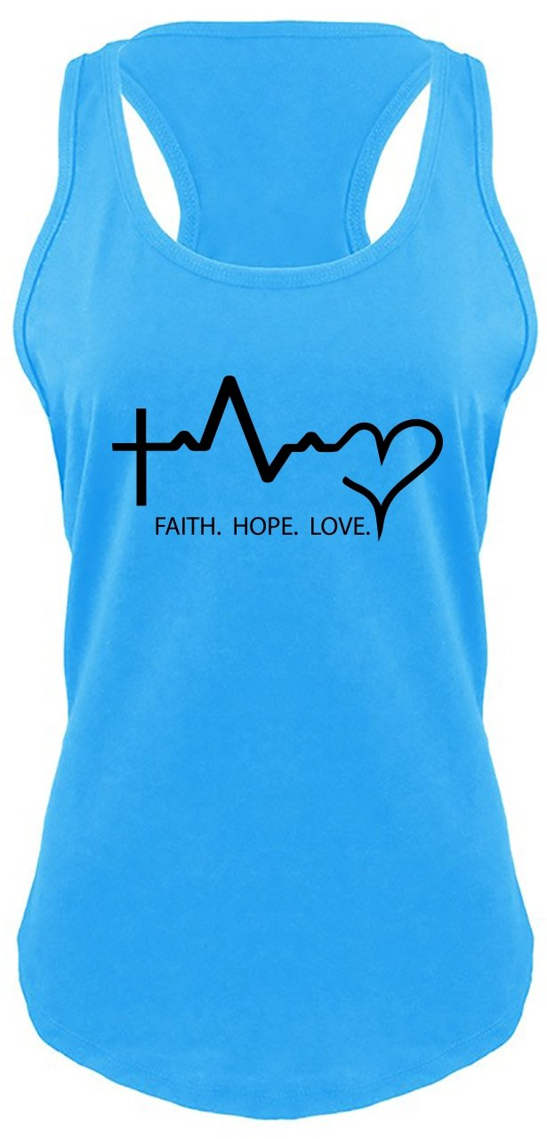 Ladies Racerback Tank Faith Love Hope Turquoise S