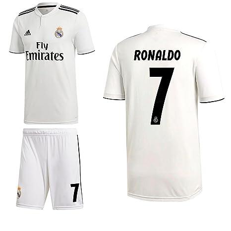 Adidas Fútbol Real Madrid CF Home Set 2018 2019 doméstica Juego Ronaldo 7 Hombre Niños,