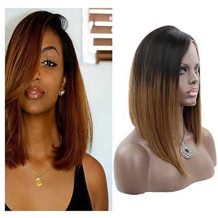 """Yiya 16"""" Bob Peluca Brazilian Virgin Human Hair Peluca Straight Lace Front Pelucas Glueless Full"""