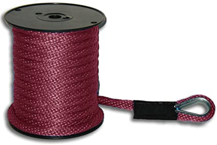 """ANCHOR ROPE DOCK LINE 3//8/"""" X 50/' DOUBLE BRAIDED 100/% NYLON RED MADE IN USA"""