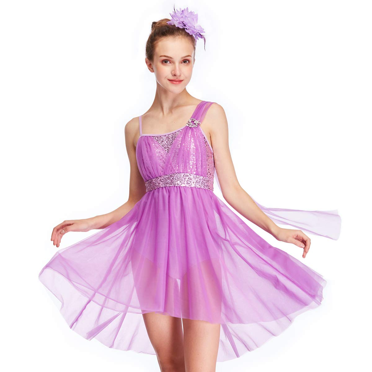 MiDee Tulle Athletic Dance Dresses Costume for Girl's Camisole Sequined Tops High-Low Skirt (PA, Lilac) by MiDee