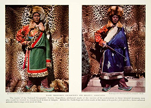 [1931 Color Print Nishi Nashi Tribesmen Traditional Dress Costume Historical NGM8 - Original Color] (Tribesmen Costume)