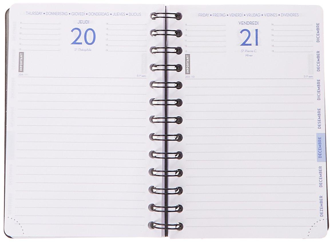 Exacompta 184472E Forum Preston Agenda journalier spiral/é Ao/ût 2018 /à Juillet 2019 couverture en mati/ère 12 x 17 cm Bleu