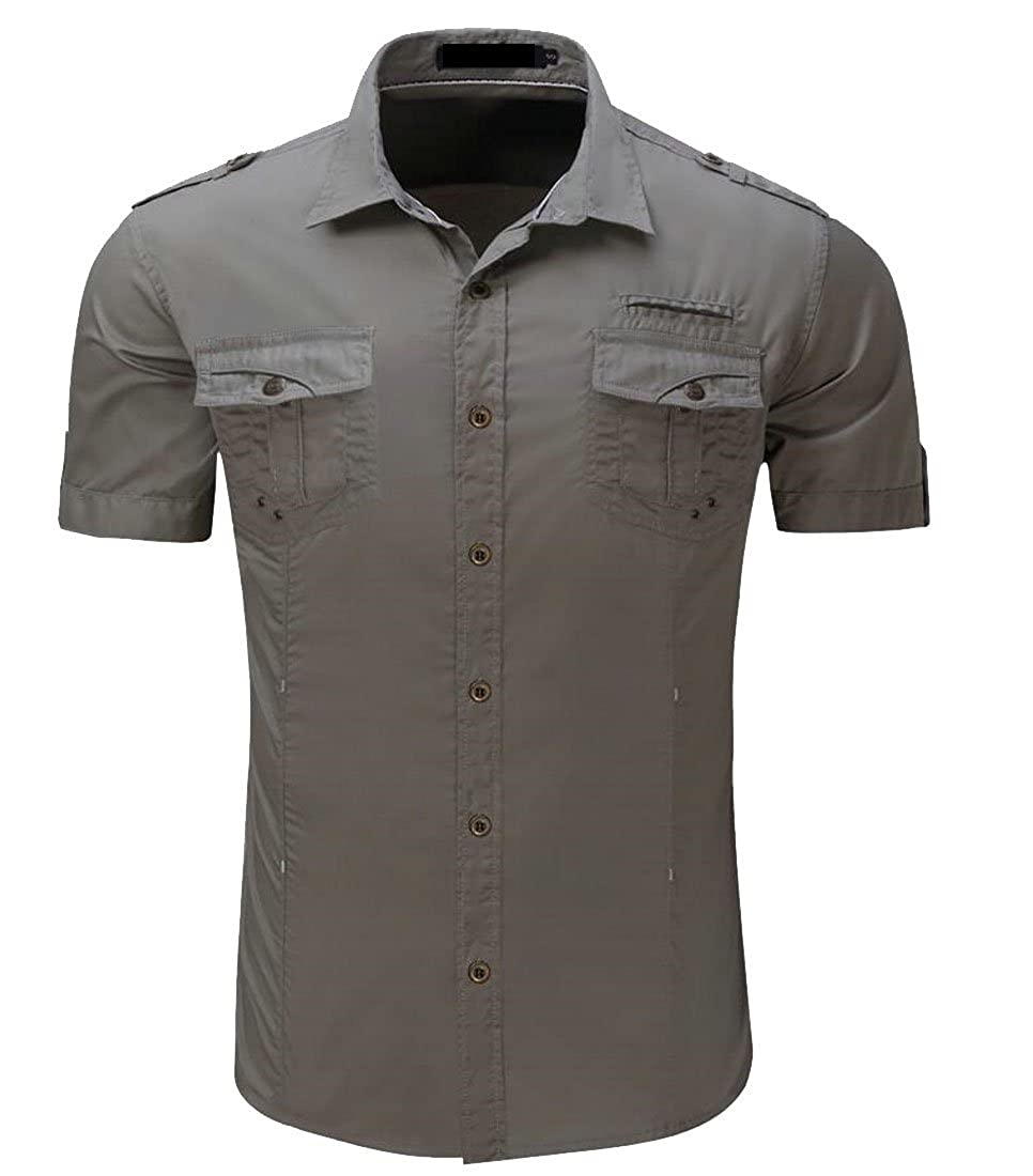 Gnao Mens Military Casual Cotton Short Sleeve Button Down Shirts
