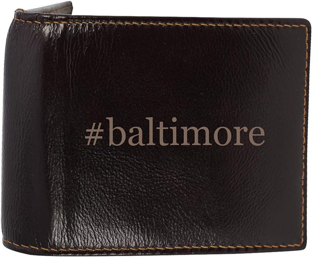 #baltimore - Genuine Engraved Hashtag Soft Cowhide Bifold Leather Wallet