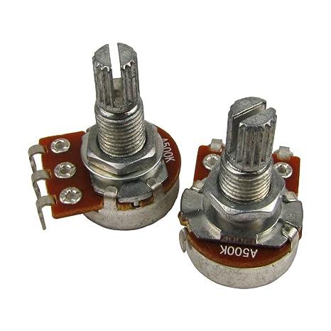 IKN 2pcs A500k L18mm Potenciómetro del tono de la guitarra del potenciómetro del mini pot del