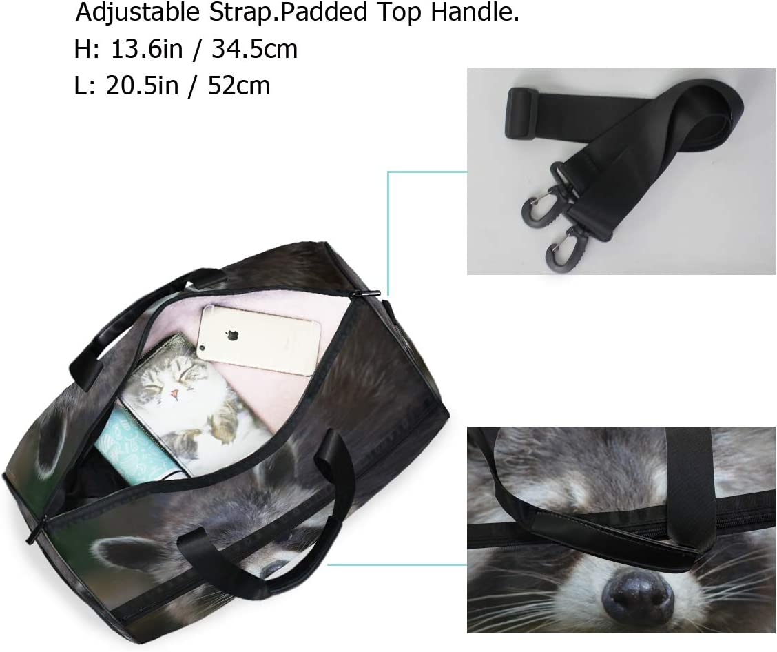 MUOOUM Raccoon Cute Animal Large Duffle Bags Sports Gym Bag with Shoes Compartment for Men and Women