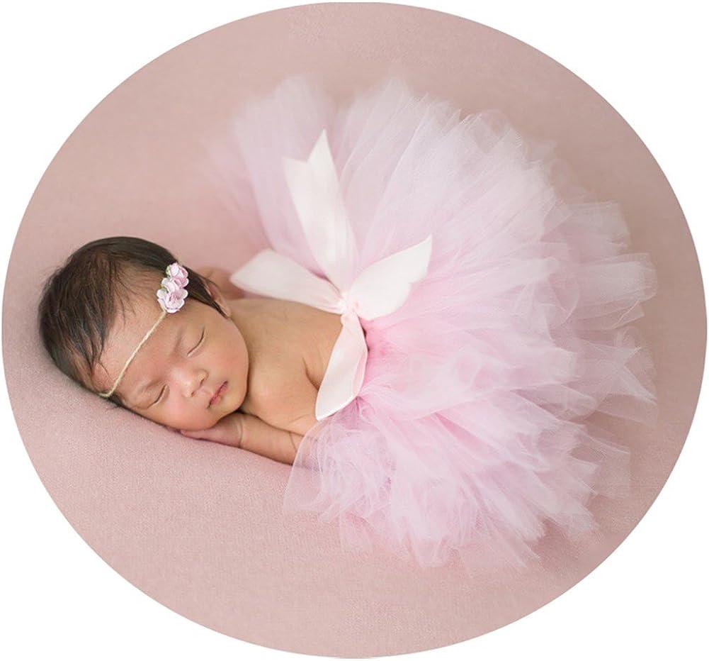 Pink Chiffon Tutu Headband Photo Prop Set Newborn Infant Baby Princess Outfit