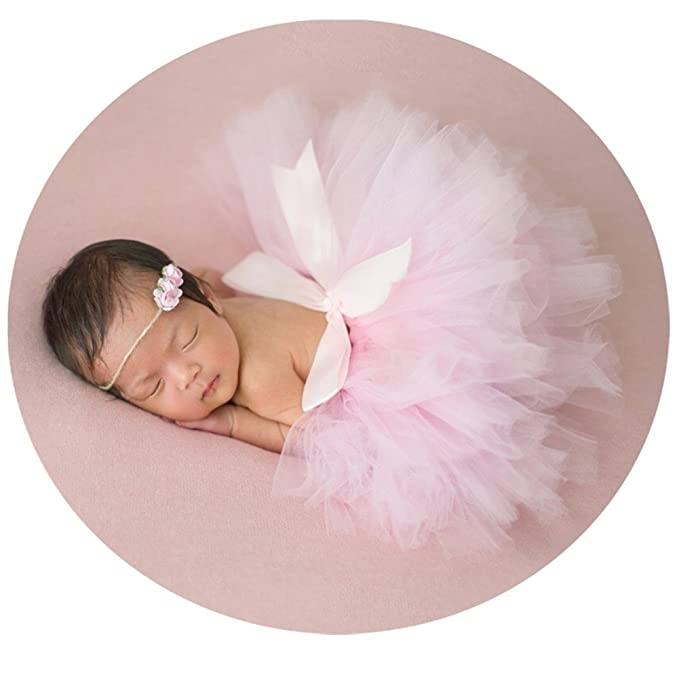 Amazon.com: Bebé Fotografía Props falda tutú tocado recién ...