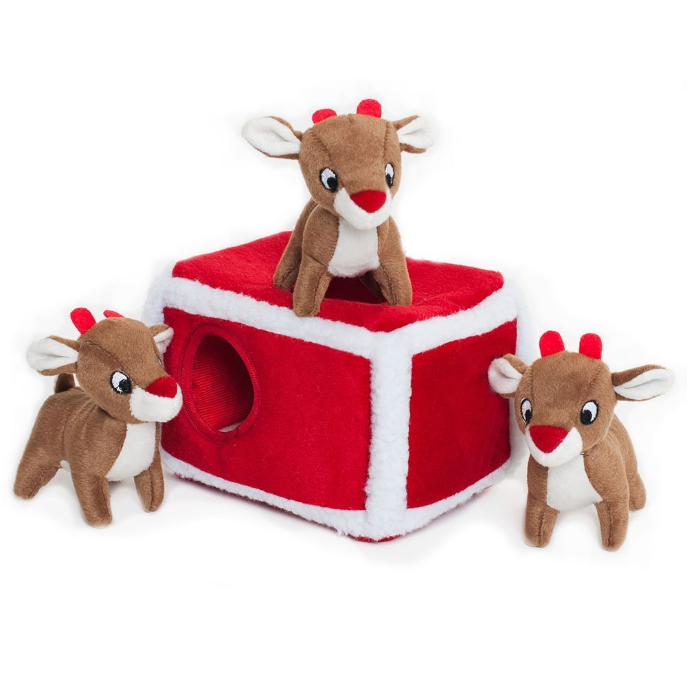 ZippyPaws - Holiday Burrow, Interactive Squeaky Hide and Seek Plush Dog Toy