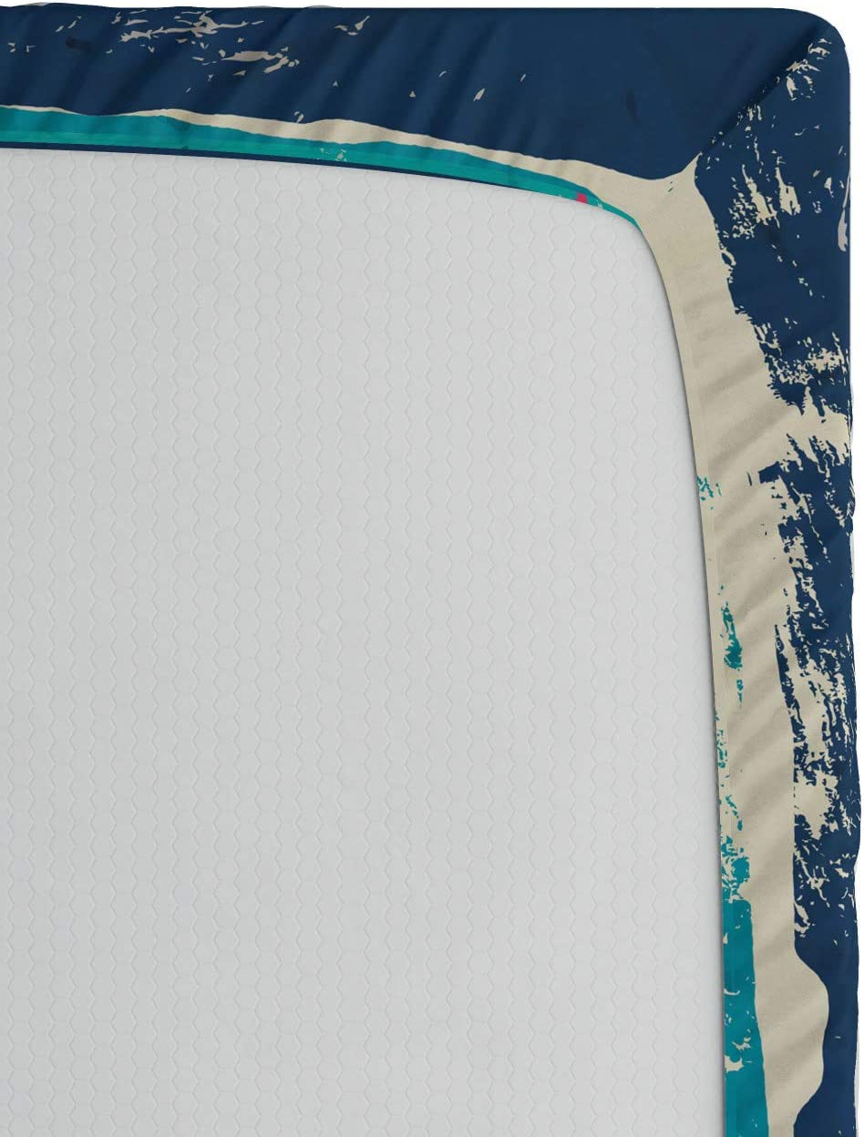 Oscuro coralina de la Turquesa Me Encanta el Rock and Roll 150 x 190 cm ABAKUHAUS La m/úsica Rock S/ábana Elastizada Suave Tela Decorativa Estampada El/ástico en el Borde