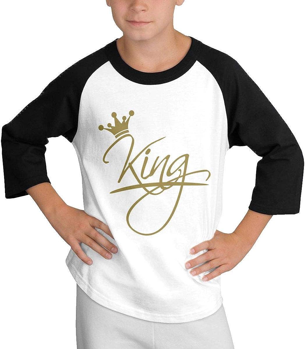 King Writing On The Crown Raglan 3//4 Short Sleeve Tee Youth Girl Boys
