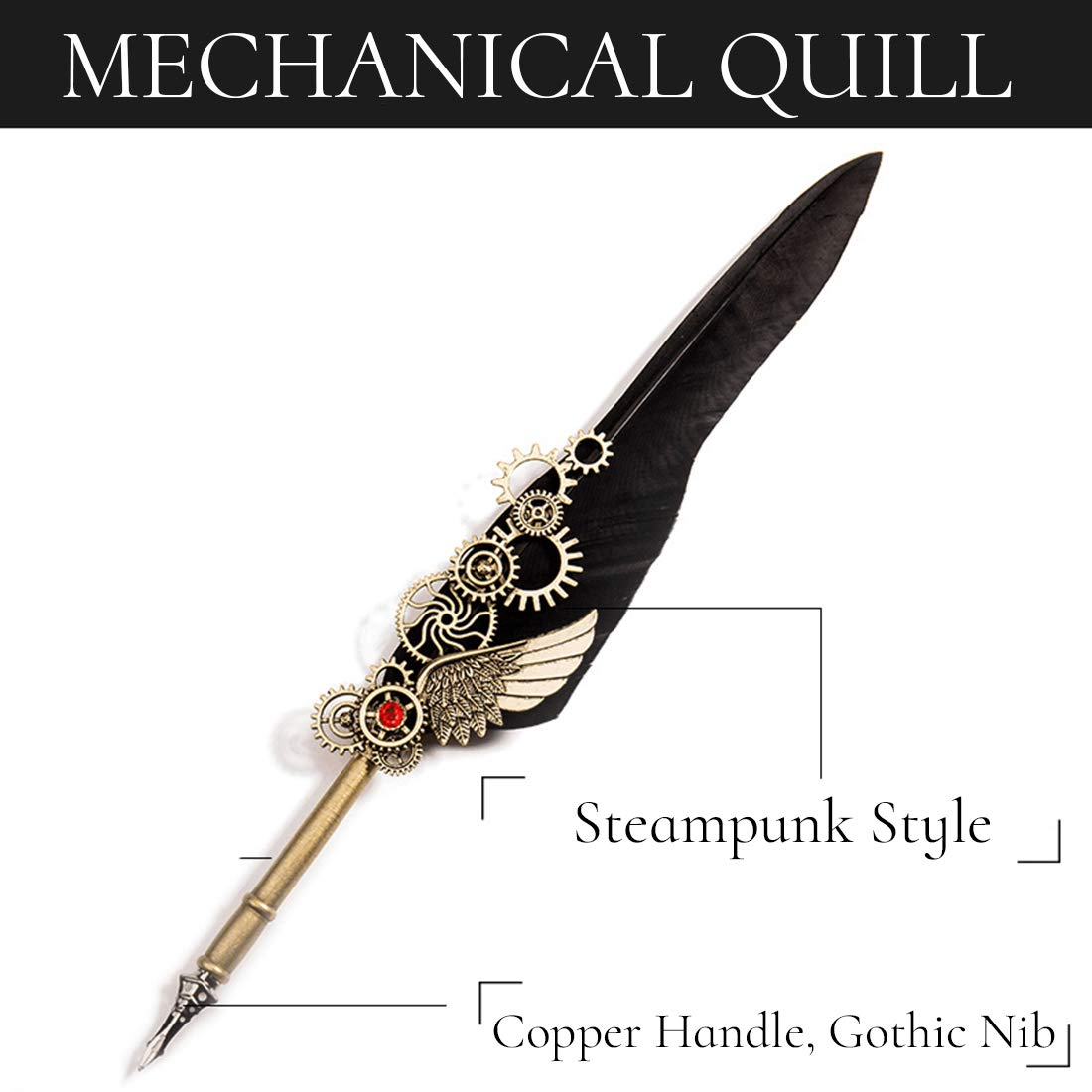 HENHEN Feather Quill Pen Set - 100% Hand Craft - Steampunk Quill Pen and Notebook Set, in Gift Box by HENHEN (Image #2)