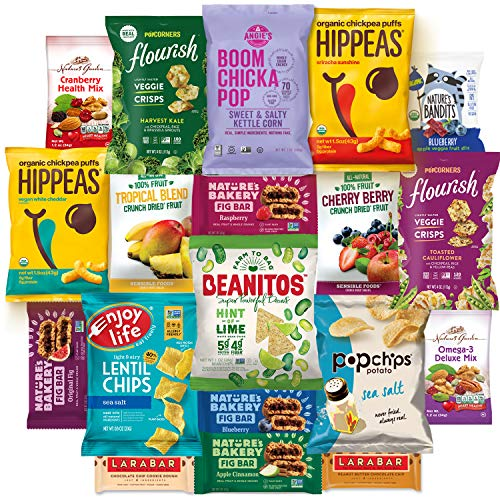 Healthy Vegan Snacks Care Package Snack Gift Box (20 Count) : Mixed Premium Set of Nuts, Bars, Chips, Chickpeas and Fruit Snacks - Multiple Flavors Sampler Variety ()