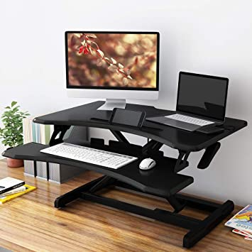 Slypnos Height Adjustable Sit To Standing Desk Converter Riser 28 5 Inches Wide Ergonomic Workstation Black Amazon Co Uk Kitchen Home