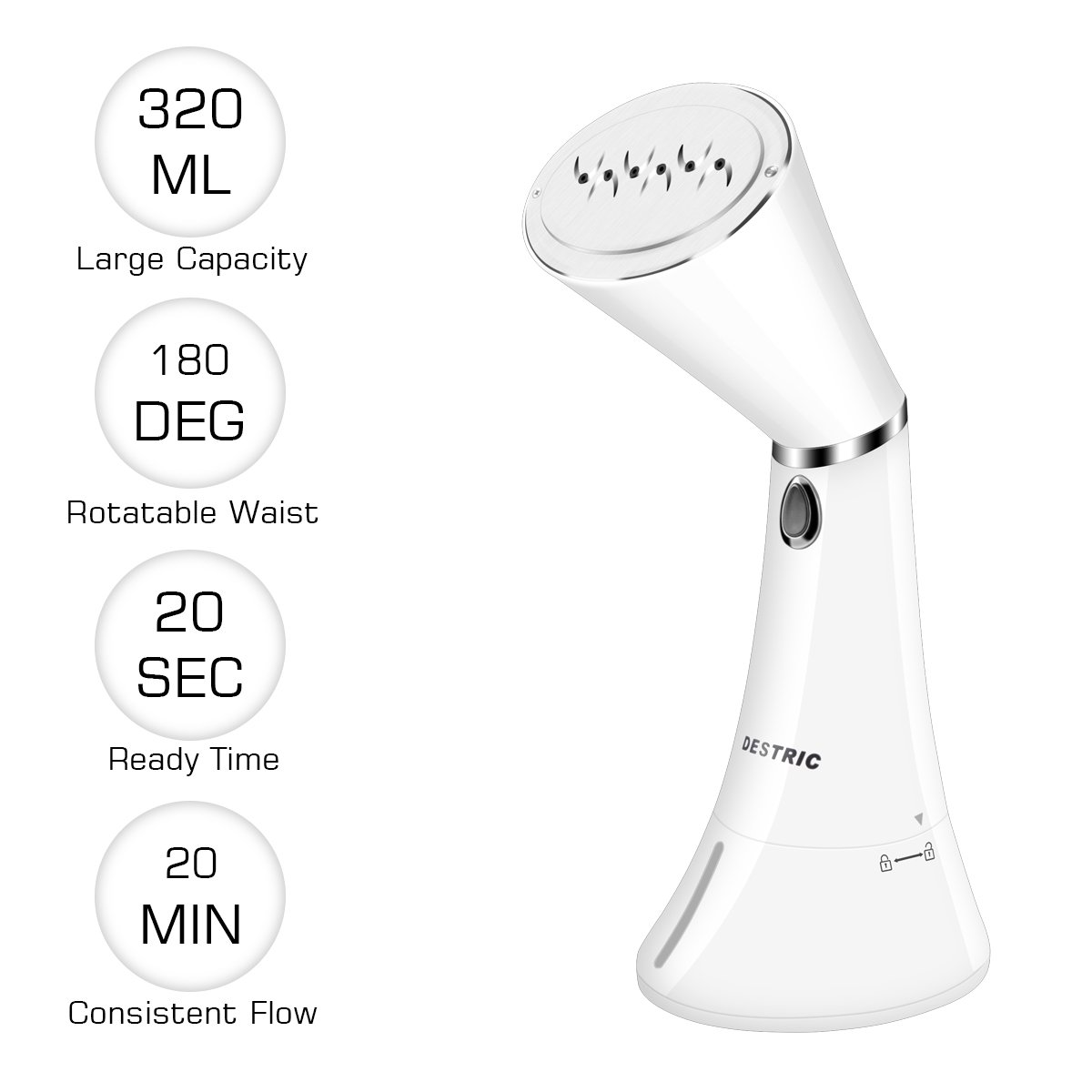 Portable Clothes Steamer, Destric 320ml Handheld Rotatable Travel Garment Steamer, 20s Fast Heat-Up, Safe Automatic Shut-Off, Powerful Fabric Steamer with Cleaning Brushes for Ironing, Traveling, Home