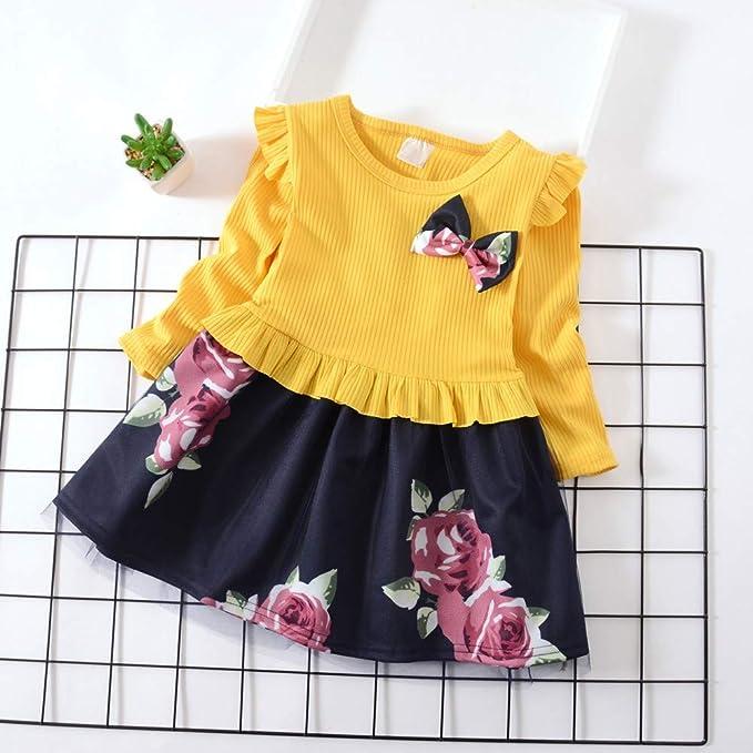 feiXIANG Ropa para niños Ropa para niños Primavera y otoño Vestido de Manga Larga Arco Vestido Estampado de Flores Vestido de Princesa Fiesta Informal ...