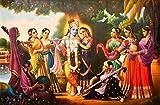 Radha Krishna with Gopikas - Oil Painting on Canvas - Artist: Madan Gomay