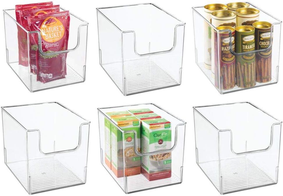 "mDesign Plastic Open Front Food Storage Bin for Kitchen Cabinet, Pantry, Shelf, Fridge/Freezer - Organizer for Fruit, Potatoes, Onions, Drinks, Snacks, Pasta - 8"" Wide, 6 Pack - Clear"