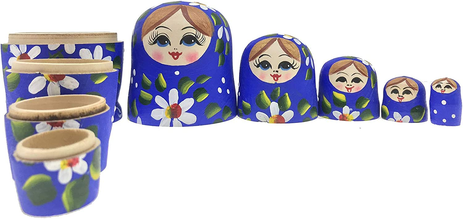 lucky box Nesting Dolls Wooden Matryoshka Russian Doll Handmade Stacking Toy Set 5 Pieces for Kids Girl