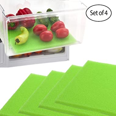 Dualplex Fruit & Veggie Life Extender Liner for Fridge Refrigerator Drawers, 13 x 10.5 Inches (4 Pack) – Extends The Life of Your Produce & Prevents Spoilage
