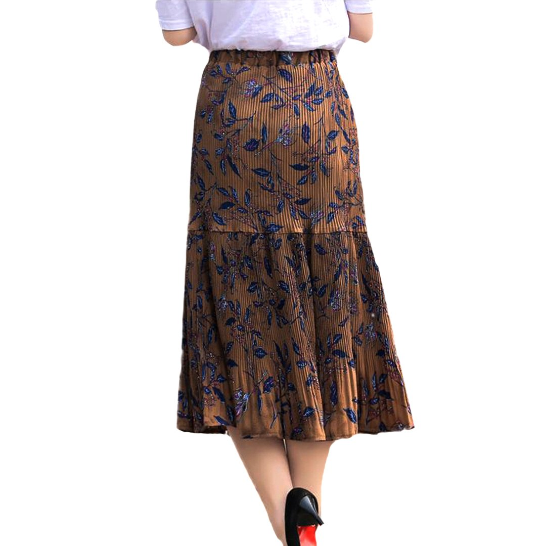Women Flower Printed Pleated Skirt Tulle Mesh Midi Skirt Elastic Waist A-Line Long Skirts for Daily Shopping Party Beach Travel Coffee XL