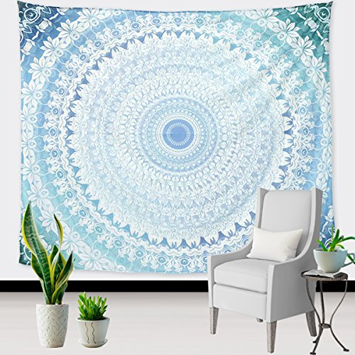 UNIME Wall Tapestry, Mandala Tapestry Tapestry Wall Decor, Decorative Wall Hanging Tapestry, Wall Art Gypsy Tapestry, 60 X 52 inches (Blue Mandala)