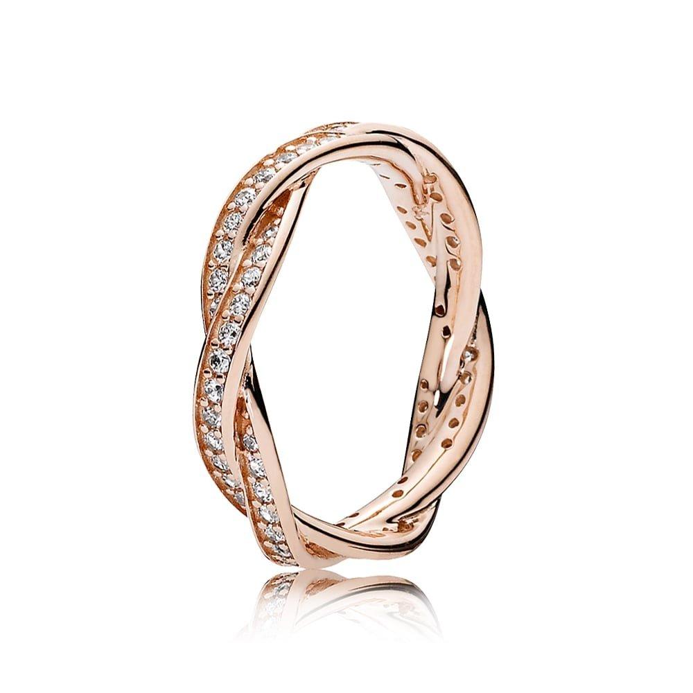 PANDORA Rose Ring Twist of Fate SIZE 7.5