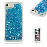 Funyye Liquid Quicksand Case for iPhone 5/5S/SE,Sparkly Flowing Glitter Blue Love Hearts TPU Case for iPhone 5/5S/SE,Slim Soft Rubber Flexible Clear Protective Silicone Case for iPhone 5/5S/SE + 1 x Free Screen Protector